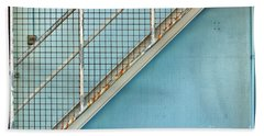 Stairs On Blue Wall Beach Sheet