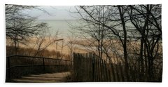 Beach Towel featuring the photograph Stairs To The Beach In Winter by Michelle Calkins