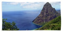 Beach Towel featuring the photograph Stairway To Heaven View, Pitons, St. Lucia by Kurt Van Wagner