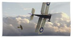 Beach Towel featuring the digital art Stalked - Se5 And Albatros Dlll by Pat Speirs
