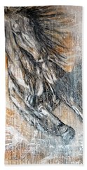 Beach Sheet featuring the painting Stallion Fury by Jennifer Godshalk
