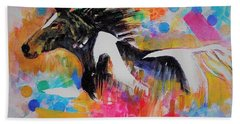 Stallion In Abstract Beach Towel by Khalid Saeed