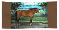 Beach Towel featuring the painting Stallion Portrait by Dawn Senior-Trask