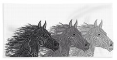 Beach Towel featuring the drawing Stallions Shades by Nick Gustafson