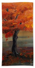 Stand Alone In Color - Autumn - Tree Beach Sheet