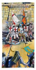 Stand Off At Cuvre Port Beach Towel