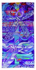 Beach Towel featuring the painting Standing At The Edge Of The Abyss by Denise Weaver Ross
