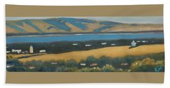 Beach Towel featuring the painting Stanford By The Bay by Gary Coleman