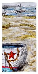 Beach Towel featuring the painting Star Boat by Monique Faella