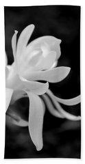 Star Magnolia Flower Black And White Beach Sheet