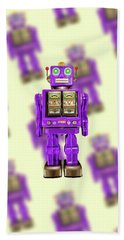 Star Strider Robot Purple Pattern Beach Sheet by YoPedro