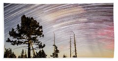 Star Trails At Fort Grant Beach Towel
