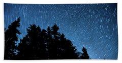 Star Trails In Acadia Beach Towel