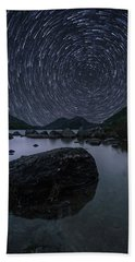 Star Trails Over Jordan Pond Beach Towel