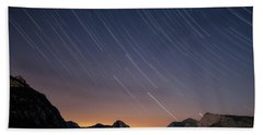 Star Trails Over The Apuan Alps Beach Sheet
