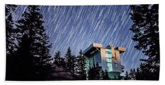 Star Trails Over The Large Binocular Telescope Beach Towel