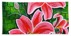 Stargazer Lilies Bold And Vibrant Floral Painting On Canvas Beach Towel