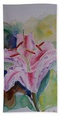 Stargazer Lily Watercolor Still Life Gift  Beach Towel