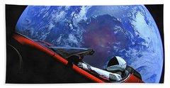Starman In Tesla With Planet Earth Beach Sheet