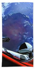 Beach Towel featuring the photograph Starman In Tesla With Planet Earth by SpaceX