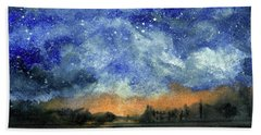 Starry Night Across Our Lake Beach Towel by Randy Sprout