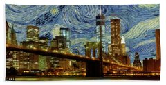 Beach Sheet featuring the painting Starry Night Brooklyn Bridge by Movie Poster Prints