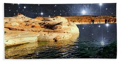 Starry Night Fantasy, Lake Powell, Arizona Beach Sheet by A Gurmankin NASA STSci