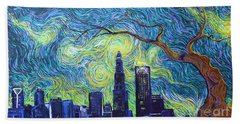 Starry Night Over The Queen City Beach Towel