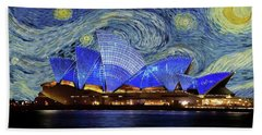 Beach Sheet featuring the painting Starry Night Sydney Opera House by Movie Poster Prints