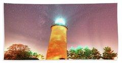 Starry Sky Over The Newburyport Harbor Light Beach Sheet