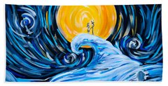 Starry Spiral Hill Night Beach Towel