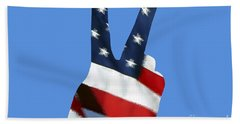 Beach Sheet featuring the photograph Stars And Stripes Peace Sign .png by Al Powell Photography USA