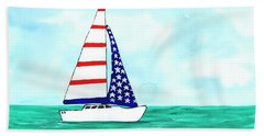 Beach Sheet featuring the painting Stars And Strips Sailboat by Darice Machel McGuire