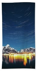 Startrails Above Reine Beach Towel