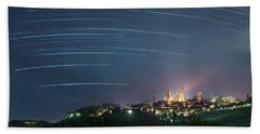 Startrails Over San Gimignano Beach Towel