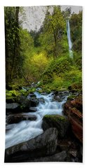 Starvation Creek And Falls Beach Towel by Ryan Manuel