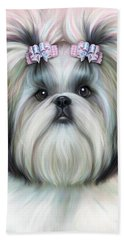 Beach Towel featuring the painting Stassi The Tzu by Catia Lee