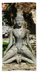 Statue Depicting A Thai Yoga Pose Beach Towel