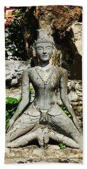 Statue Depicting A Thai Yoga Pose Beach Sheet