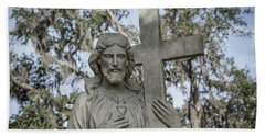Beach Sheet featuring the photograph Statue Of Jesus And Cross by Kim Hojnacki
