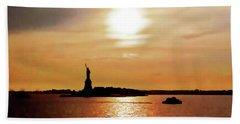 Statue Of Liberty At Sunset Beach Towel