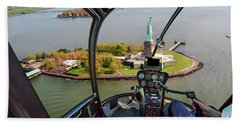 Statue Of Liberty Helicopter Beach Towel
