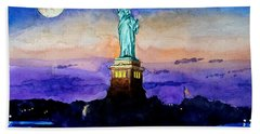 Statue Of Liberty New York Beach Sheet