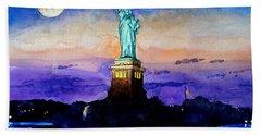 Statue Of Liberty New York Beach Sheet