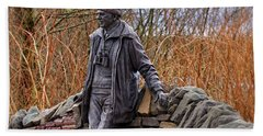 Statue Of Tom Weir Beach Towel