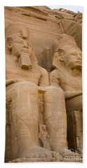 Statues At Abu Simbel Beach Towel by Darcy Michaelchuk