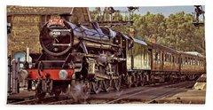 Steam Loco On Yorkshire Railway Beach Towel