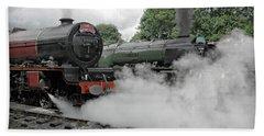 Steam Locomotive Drama Beach Towel