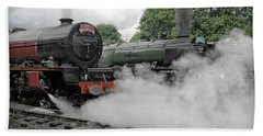 Steam Locomotive Drama Beach Towel
