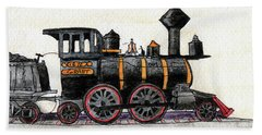 Steam Locomotive Beach Towel by R Kyllo